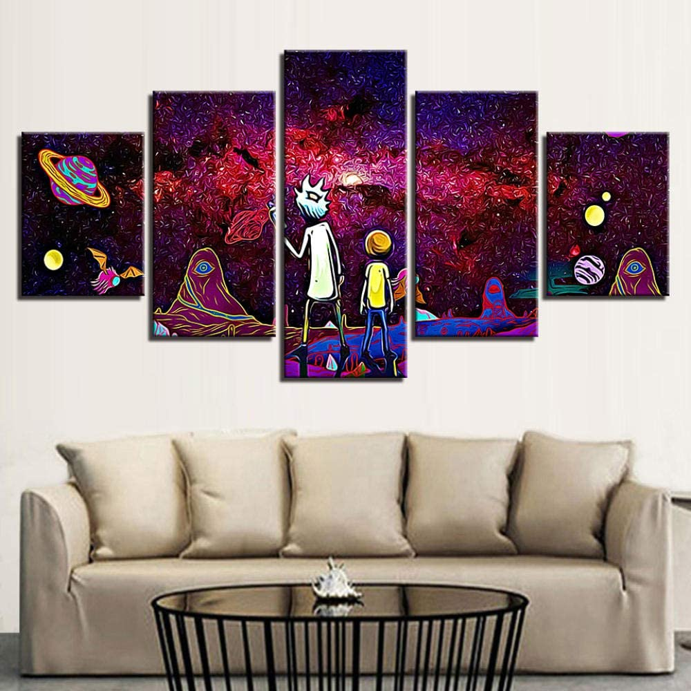 GBxebenYN02 100X50CM5 Pieces Canvas Picture Wall Decoration Rick and Morty Cosmic Planet Study Room-Frameless