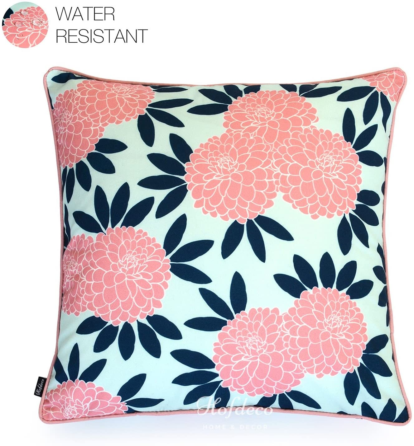 Hofdeco Spring Indoor Outdoor Pillow Cover ONLY, Water Resistant for Patio Lounge Sofa, Navy Pink Floral, 18