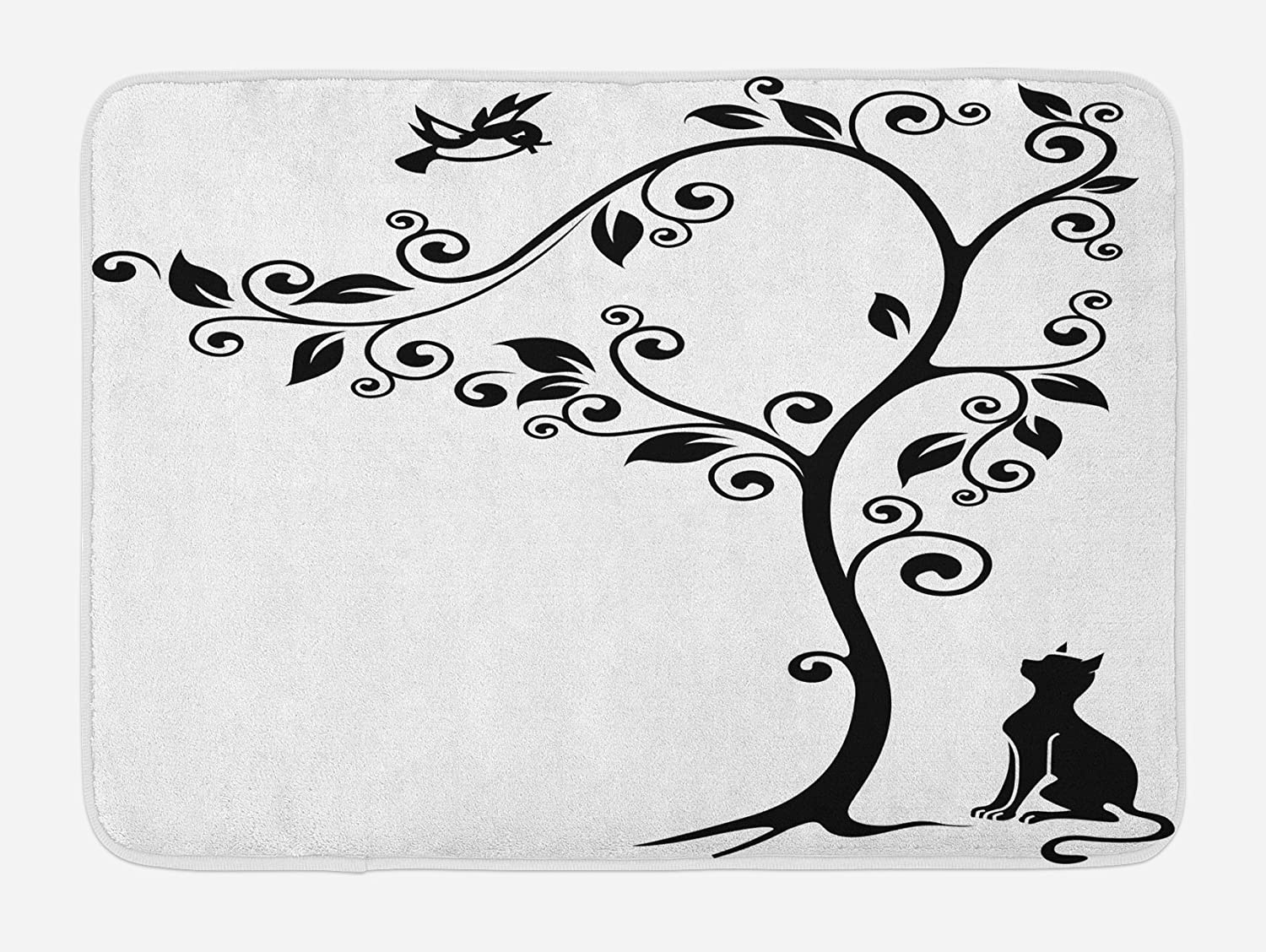 Lunarable Cat Bath Mat, Silhouette of Kitty Under Tree and Birds on Swirled Branches Illustration, Plush Bathroom Decor Mat with Non Slip Backing, 29.5