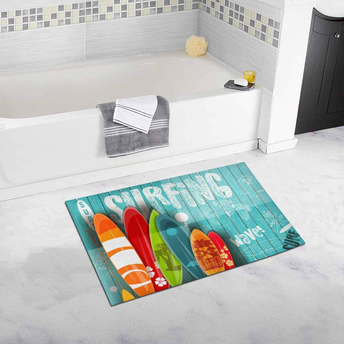 INTERESTPRINT Vintage Surfing Surfboards with Different Designs and Sizes on Blue Wooden Home Decor Non Slip Bath Rug Set Absorbent Floor Mats for Bathroom Tub Bedroom 20 x 32 Inches