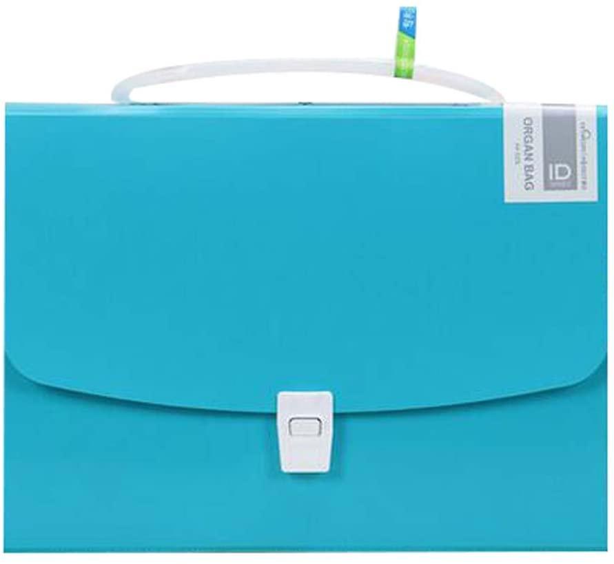 Stylish Briefcase A4 Expanding File Folder Portable Document Organizer Blue