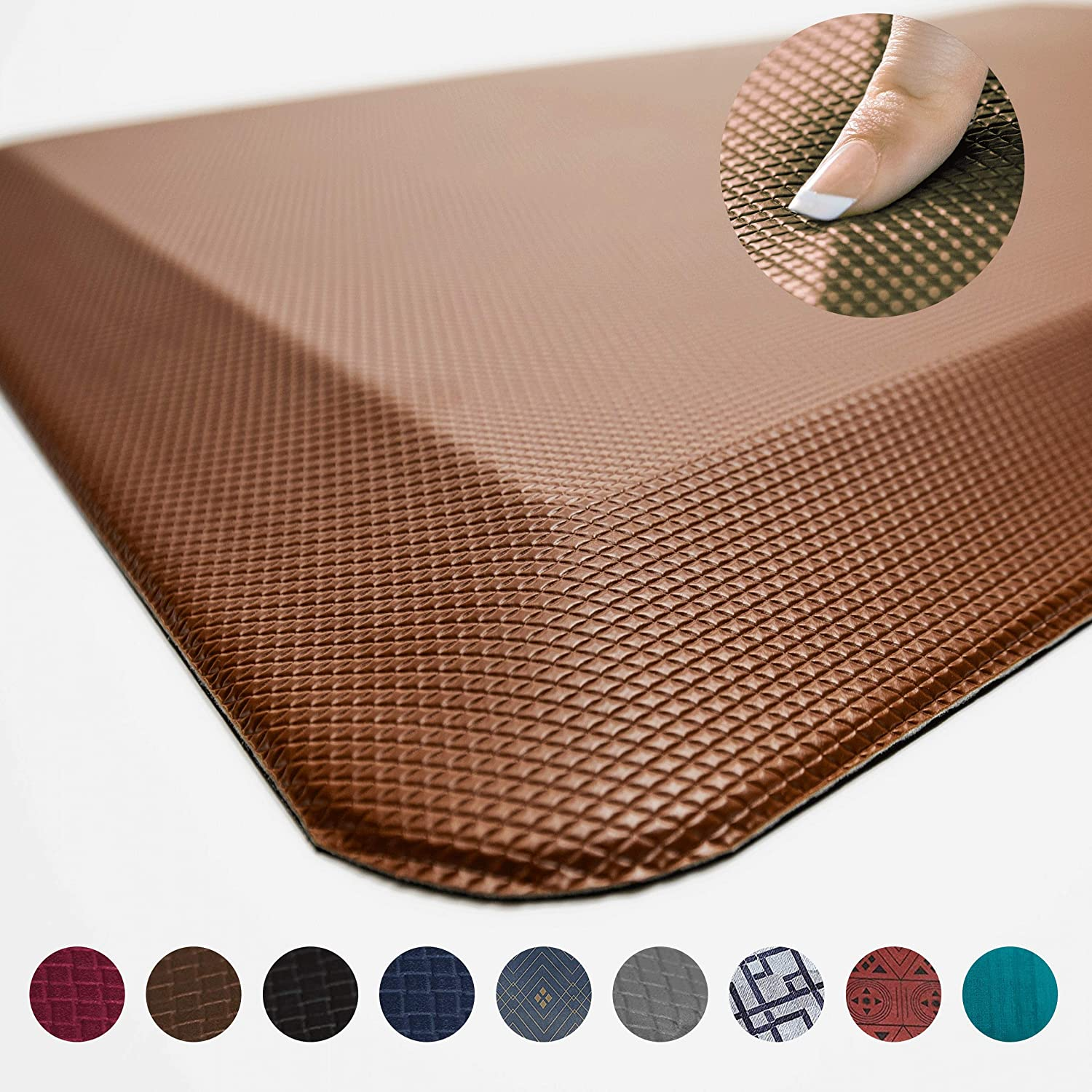 Anti Fatigue Comfort Floor Mat by Sky Mats -Commercial Grade Quality Perfect for Standup Desks, Kitchens, and Garages - Relieves Foot, Knee, and Back Pain (24x70x3/4-Inch, Chocolate Brown)