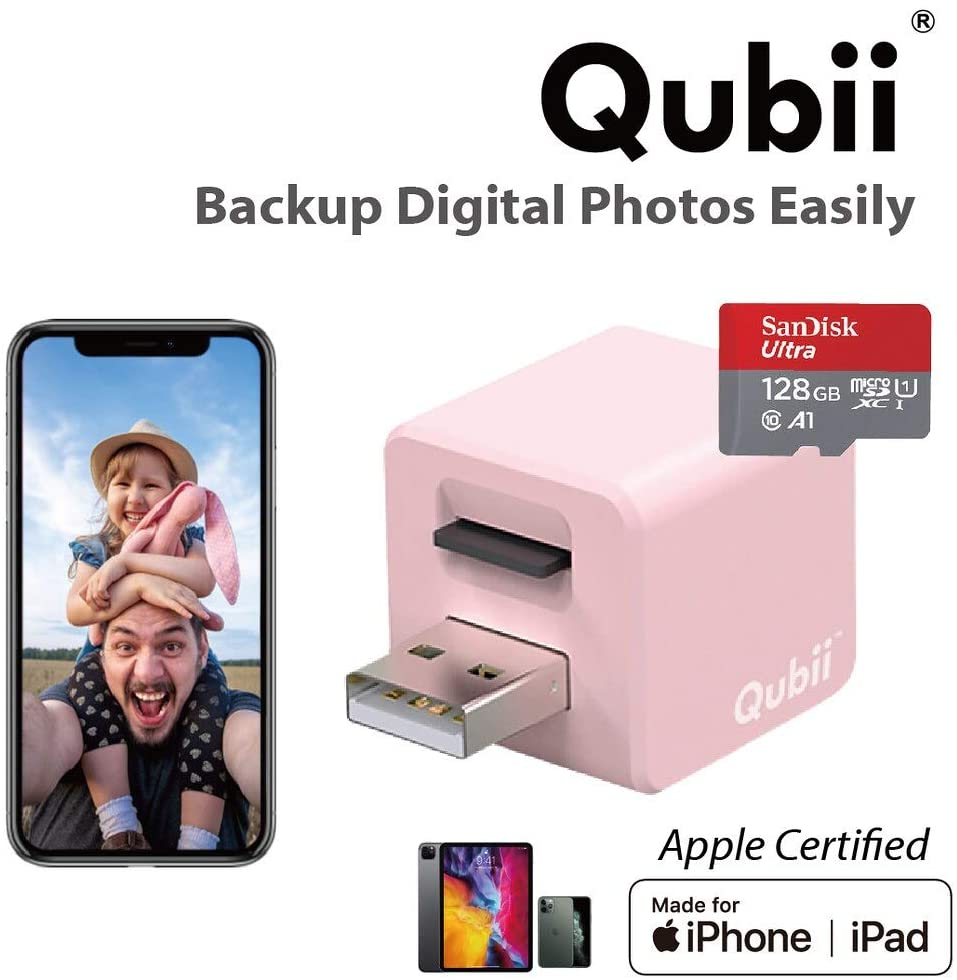Qubii - Photo Storage Device for iPhone & iPad, Auto Backup Photos & Videos, Photo Stick for iPhone, Digital Photos Organizer【128GB - Pink】