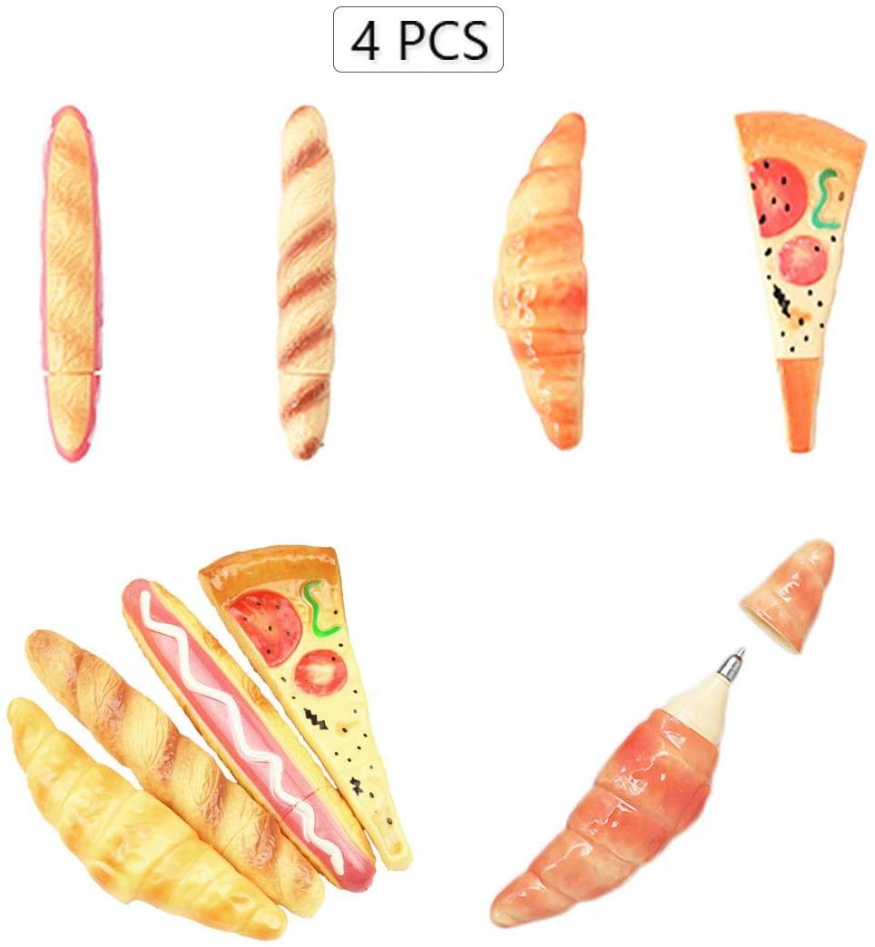 4Pcs,Creative simulation fast food replaceable refill 0.5mm black ballpoint pen,baguette/hot dog/pizza/croissant fridge magnet,4.96-5.75 inch