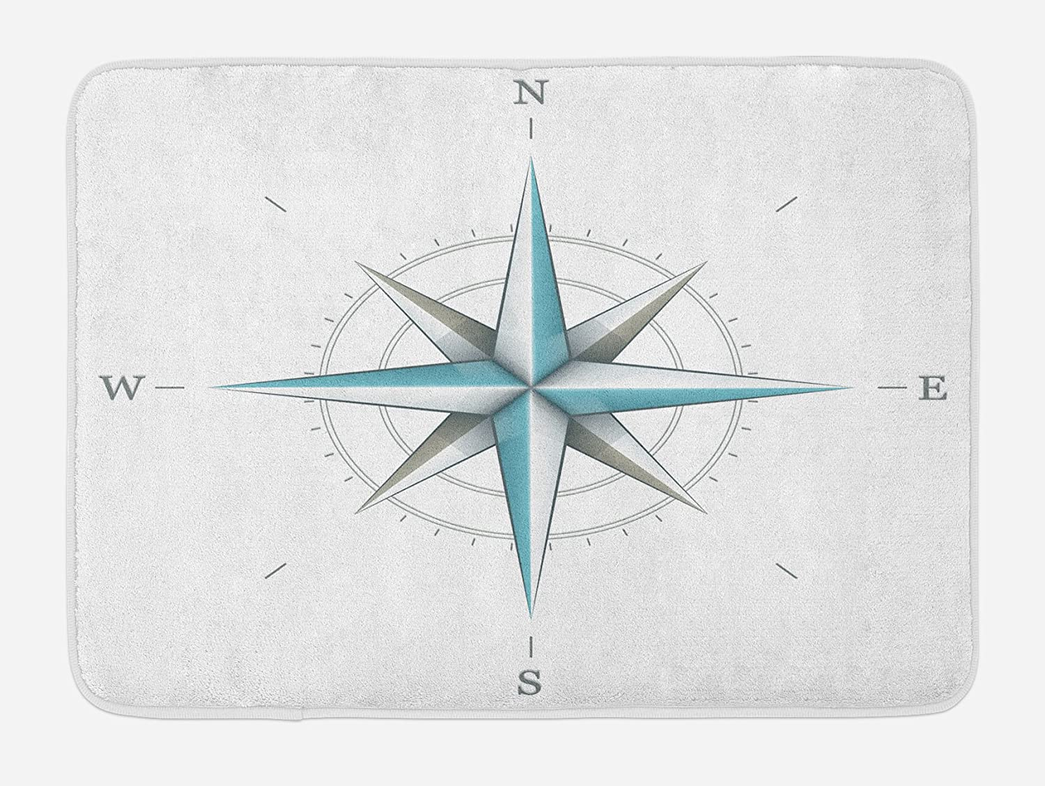 Ambesonne Compass Bath Mat, Antique Wind Rose Diagram for Cardinal Directions Axis of Earth Illustration, Plush Bathroom Decor Mat with Non Slip Backing, 29.5