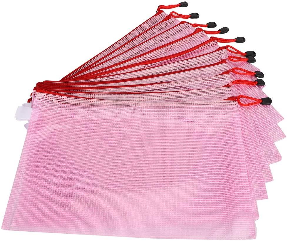 10pcs Zipper Pouch Document Bag, A4 Mesh Zipper Pouch Document Bag PVC Transparent Document Organizer Zipper Folders Receipts Organizer for Office School Home(Pink)