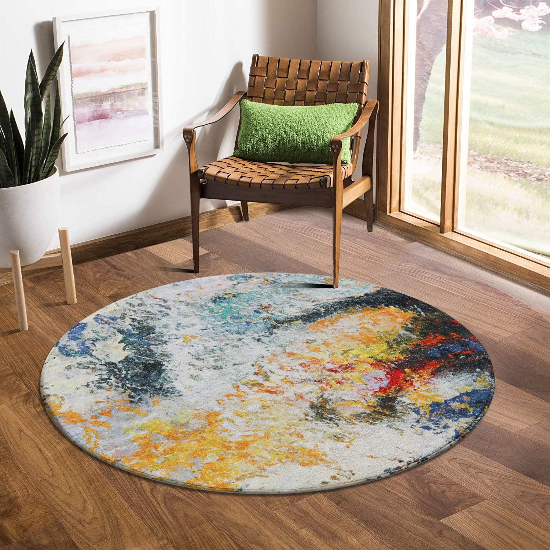 LEEVAN Round Wool Area Rug 4 ft Diameter Traditional Throw Runner Rug Non-Slip Backing Soft Wool Floor Carpet for Sofa Living Room Bedroom Modern Accent Home Decor