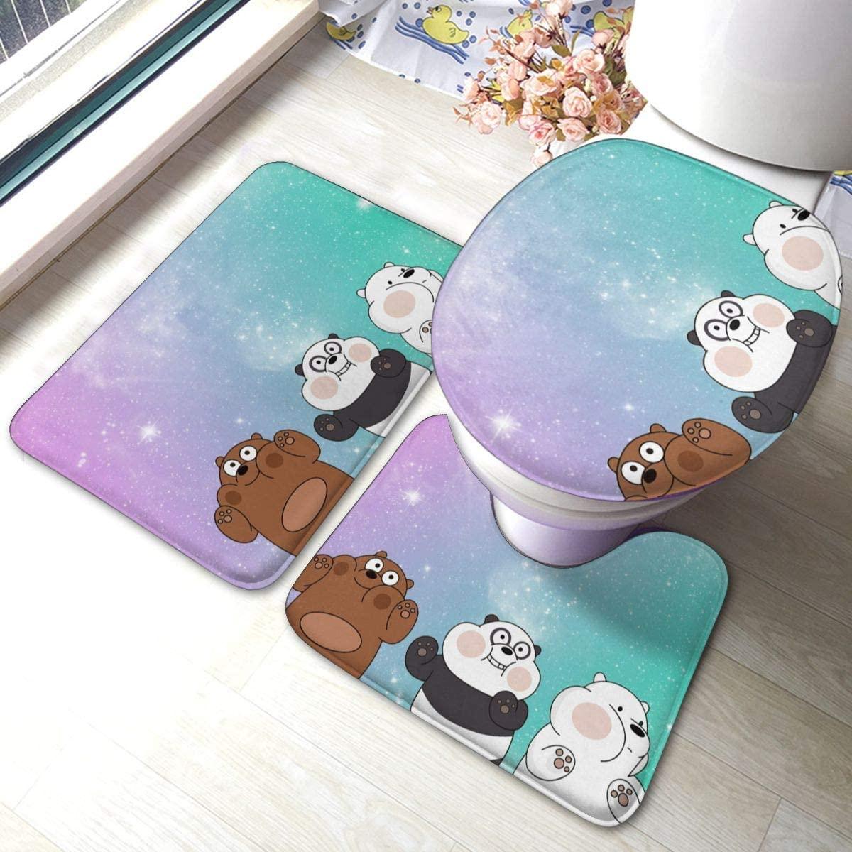 Bathroom Antiskid Pad Polar Bear Brown Bear Panda Cute Cool We Bare Bears Bathroom Rugs Set 3 Piece Carpets Mats For Tub Water Absorption Contour Toilet Lid Cover Doormat Non-Slip Machine Washable