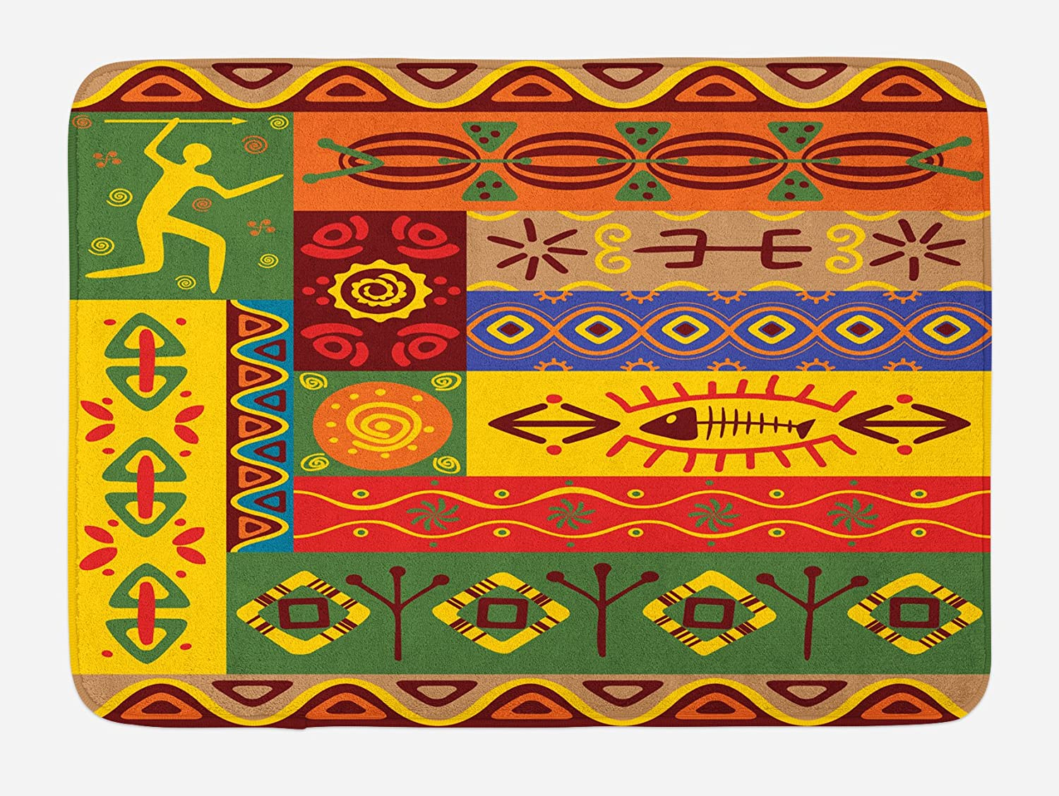Ambesonne African Bath Mat, Abstract West Folk Art Forms with Unique Lines Print, Plush Bathroom Decor Mat with Non Slip Backing, 29.5 X 17.5, Multicolor