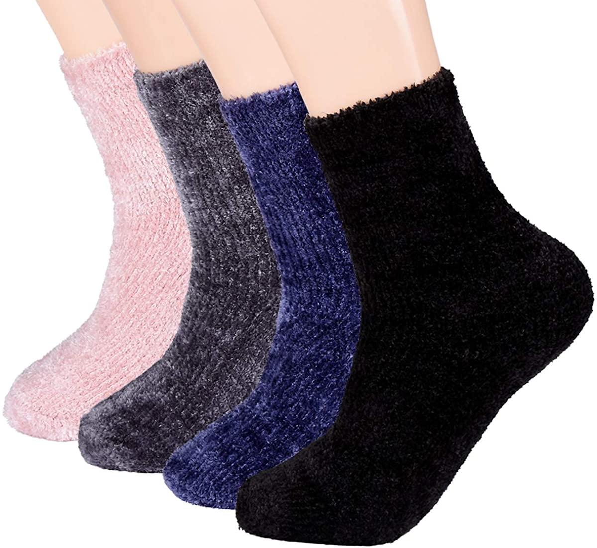 Womens Comfy&Soft Plush Chenille Sherpa Slipper Socks, Fluffy Crew Socks Casual Home Sleeping Sock, 3-5 Pairs