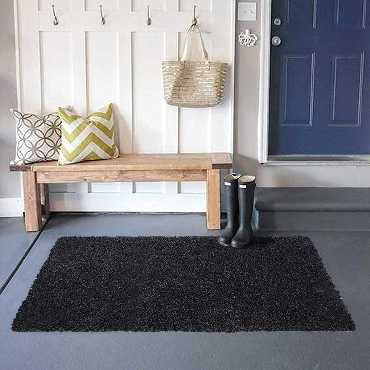 Super Soft Indoor Area Rug Bathroom Runner Bath Mat Non Slip, Machine Washable Accent Fur Rugs for Living Room Decor Dining Floor 24x36 Inch(Black)