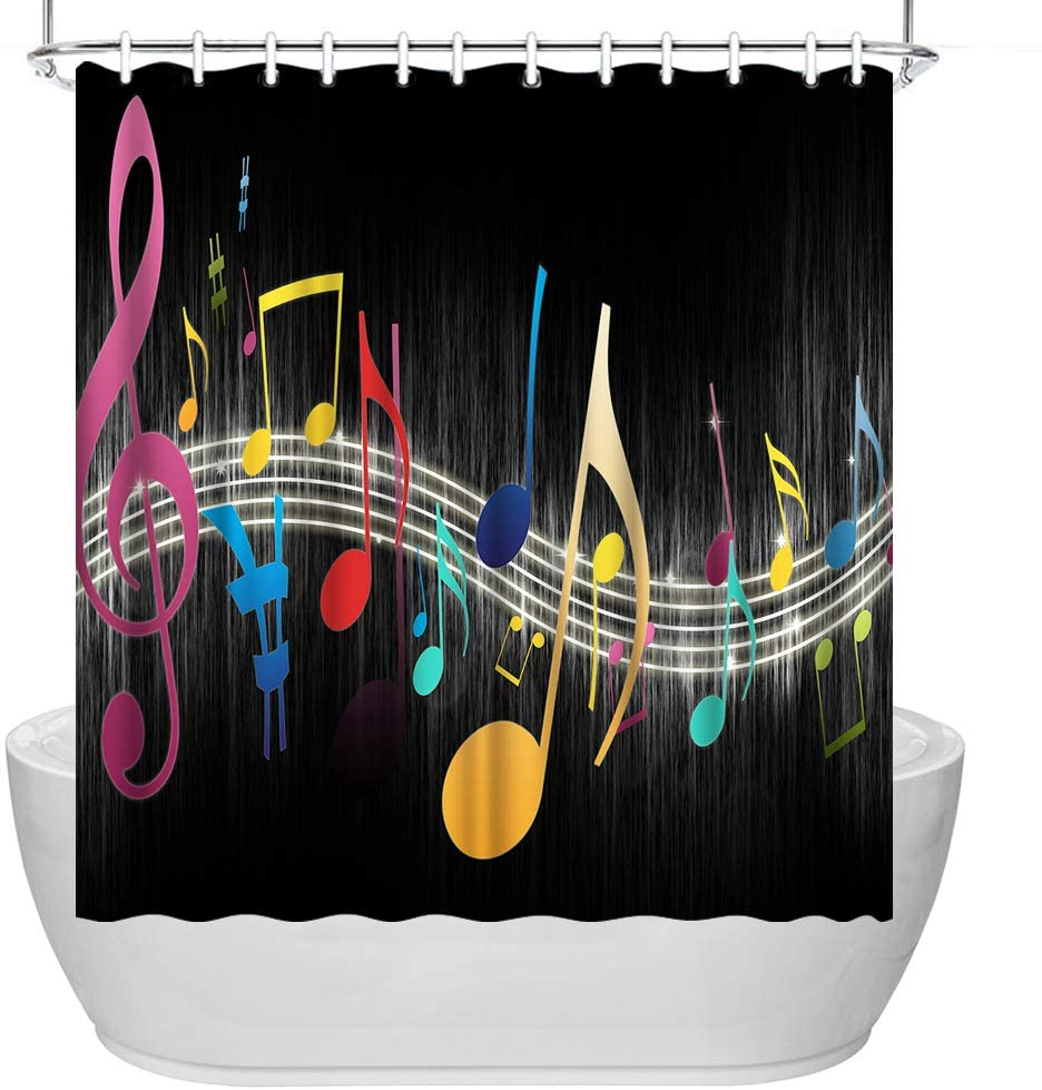 VividHome Music Shower Cutain Colorful Musical Notes Black Background Print Bathroom Waterproof Shower Curtain Fabric Decorative Bath Curtains with Hooks 72x72Inches