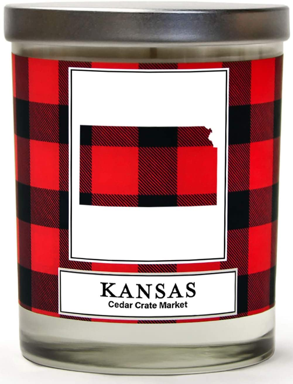 Kansas Buffalo Plaid Scented Soy Candle | Fraser Fir, Pine Needle, Cedarwood | 10 Oz. Glass Jar Candle | Made in The USA | Decorative Candles | Going Away Gifts for Friends | State Candles
