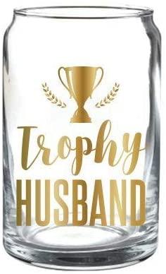 Slant Trophy Husband Beer Can Glass