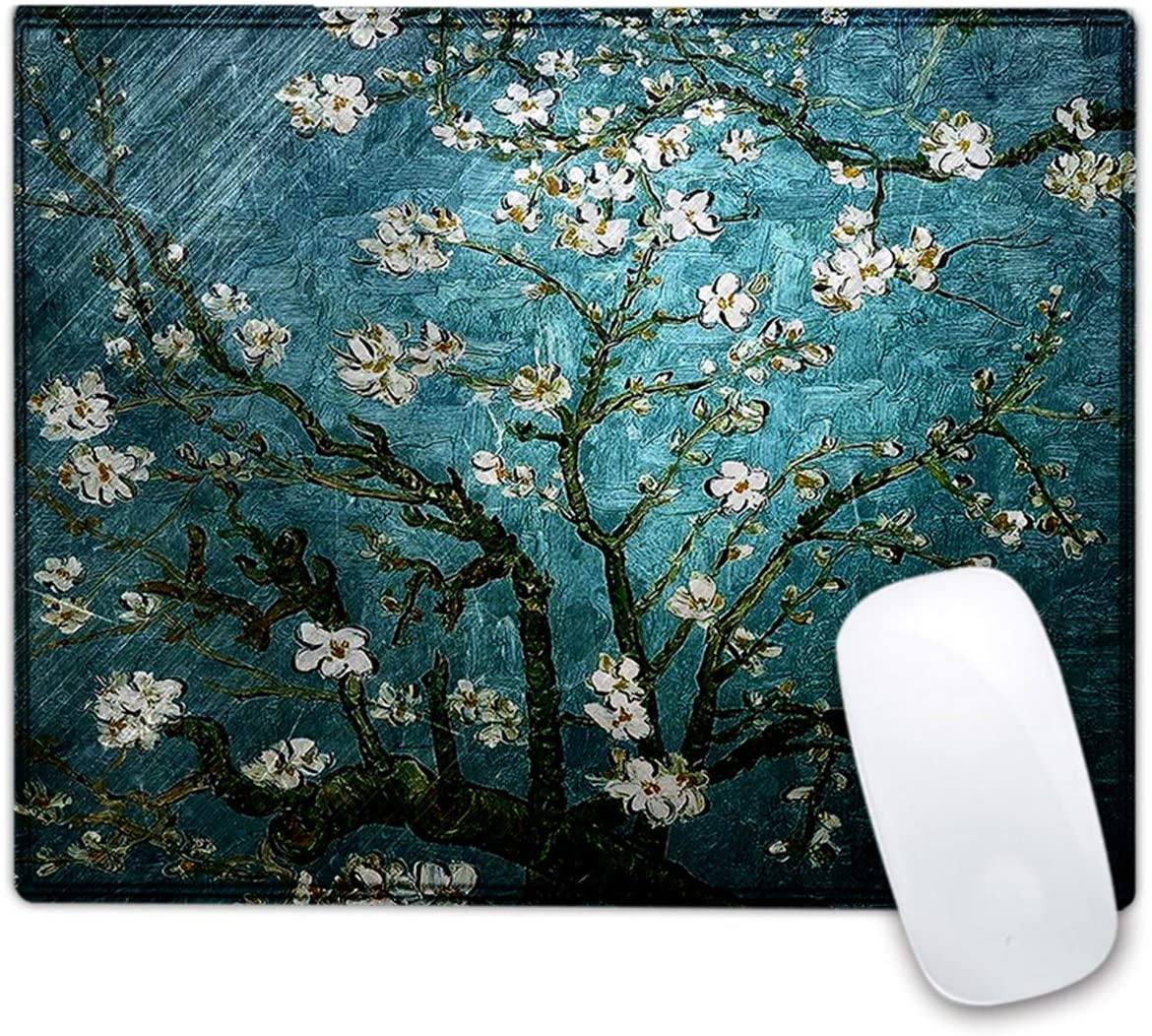 Baocool Mouse Pad with Stitched Edges,Personalized Printed Mouse Mat, Non-Slip Rubber Base Mousepad Office Accessories Desk Decor Mouse Pads for Computers Laptop.10.23 x 8.26 inch (Van Gogh Painting)