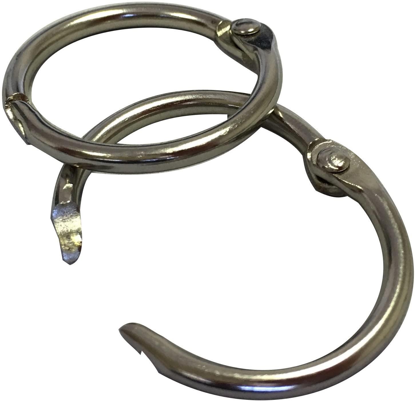 Loose Leaf Binder Rings, 3/4 Inch (19mm) Capacity, 100 Pack, Silver