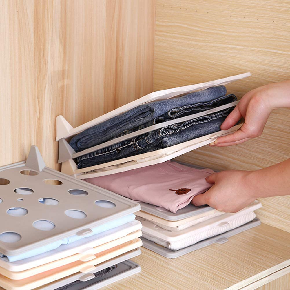 heaven2017 3 Pieces Closet Organizer Shirt Folder Clothes Folding Board T-Shirt Storage Rack Closet Closet Mess Killer Systems Grey