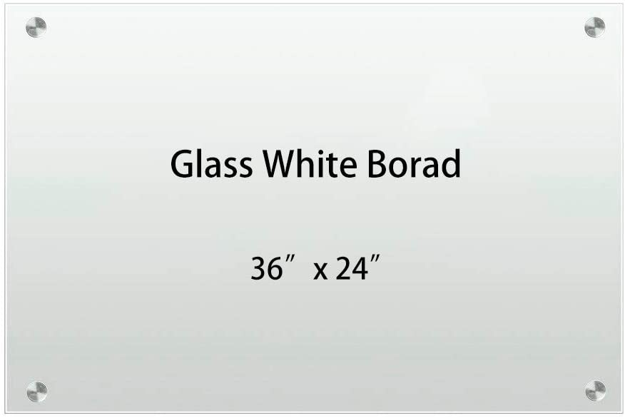 Glass White Whiteboard,Non-Magnetic Dry Erase White Board,White Surface Frameless - 3' x 2'(60 X 90cm) - Includes Board,Marker,Pen Holder and Eraser