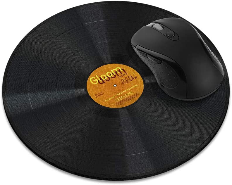 Non-Slip Round Mousepad, WIRESTER Vintage Vinyl Record Orange Mouse Pad for Home, Office and Gaming Desk