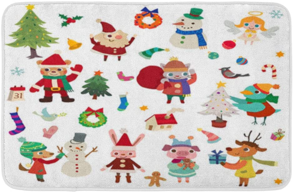 Adowyee Bath Mat Christmas Season Themechristmas Animal Moose Squirrel Bear Design Flyer Holiday Cozy Bathroom Decor Bath Rug with Non Slip Backing 20