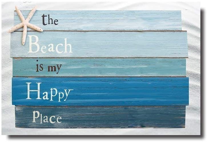 YUNDAY Beach Themed Doormats Rugs-The Beach is My Happy Place - Plank Board Sign with Starfish Non-Slip Indoor/Outdoor/Front Door/Bathroom Mats