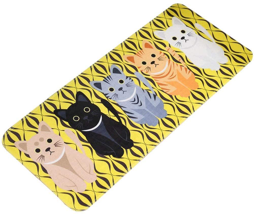 i7kbgshj Flannel Bathroom Rug Mat Cartoon Cat Door Mat Water Absorbent Bath Rug Doormat Toilet Bath Carpet Home Entrance Indoor Entry Doormat(S Yellow)