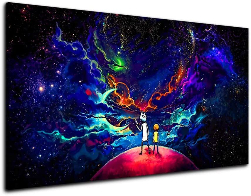 RINWUNS Canvas Print Rick and Morty Wall Picture Creative Cartoon Prints on Canvas Giclee Wall Art Decor No Frame Artwork Picture for Living Room Poster-12x18inch(Only Canvas)