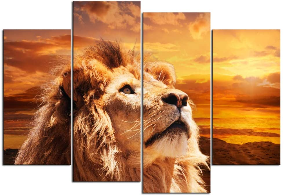 Nachic Wall 4 Piece Canvas Wall Art Lion Picture Poster Prints on Canvas Modern Animal Painting Giclee Artwork for Home Office Living Room Decor Gallery Wrap Ready to Hang