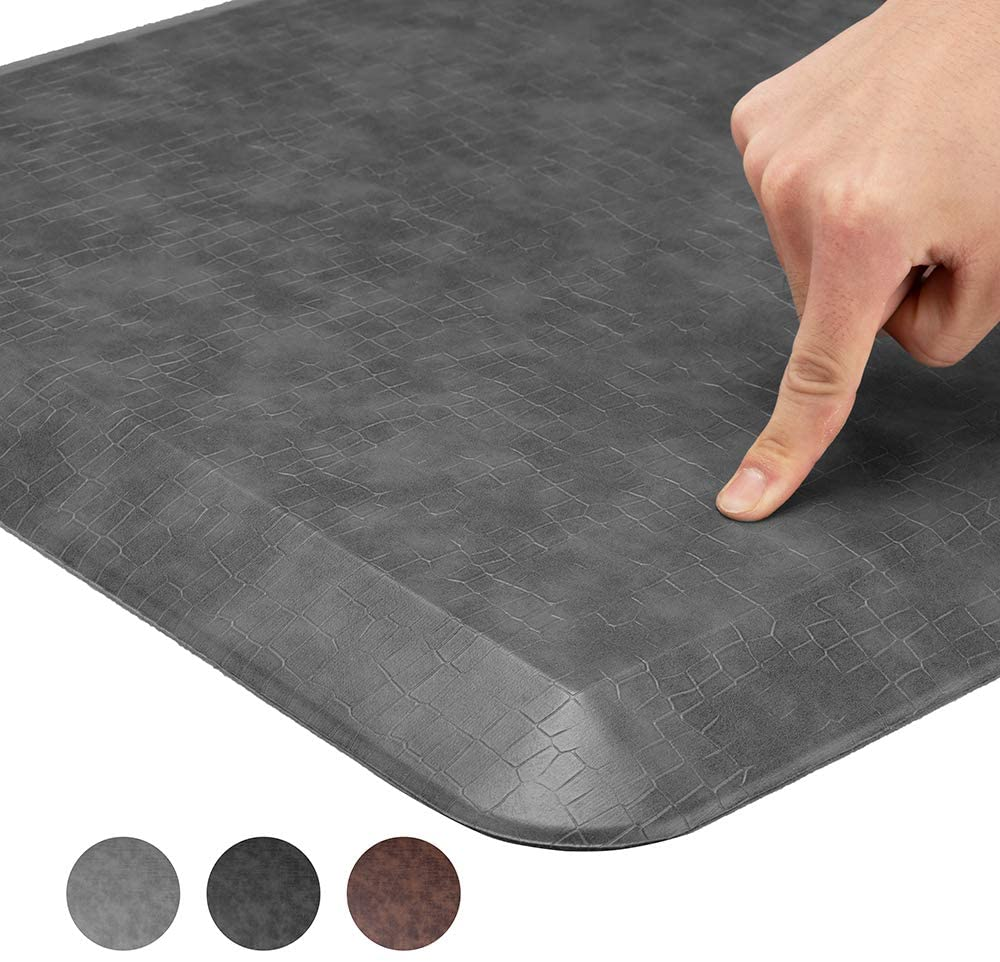 Comfort Anti Fatigue Floor Mat, Standing Mat Kitchen Rug – 3/4 Inch Standing Desk Mat, Home, Office, Garage (Grain Gray, 20