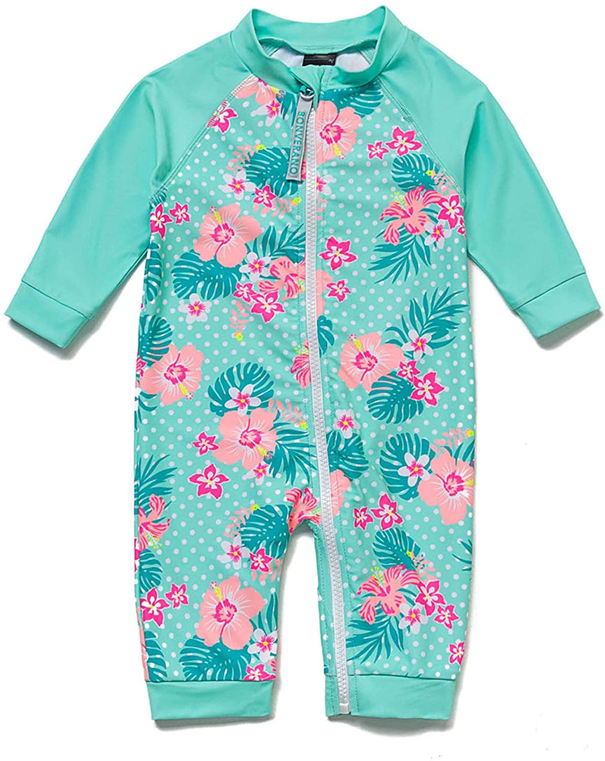 Baby Girl One-Picec Swimsuits Long Sleeve UPF 50+ Come with a Hats