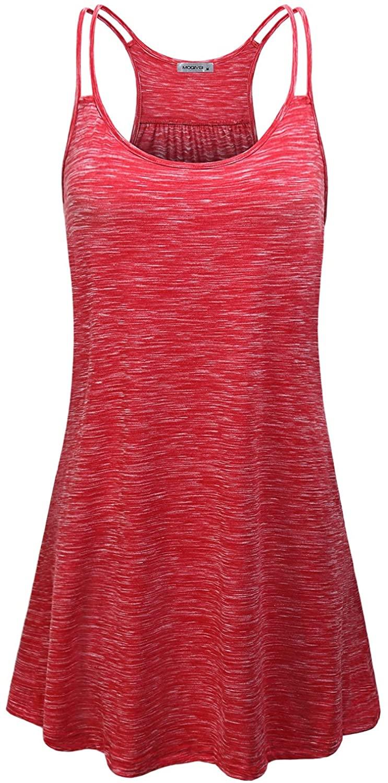 MOQIVGI Women's Scoop Neck Spaghetti Strap Casual Tank Dress with Pockets