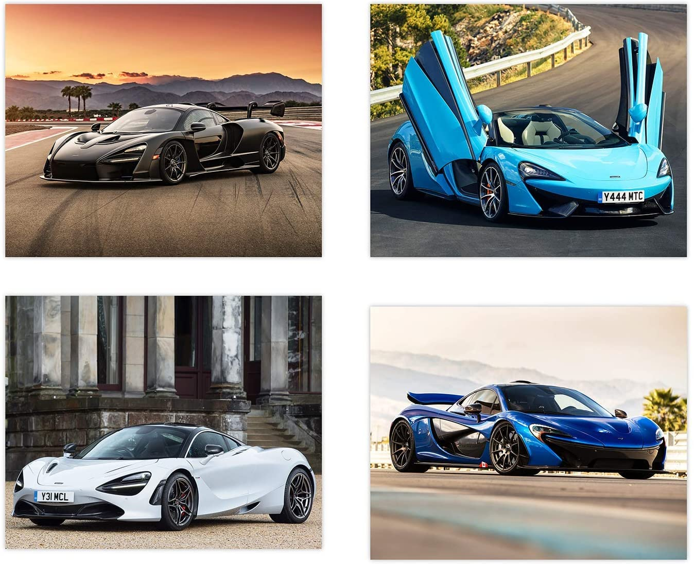 Mclaren Poster | Set of Four 8x10 Sports Car Wall Art | Senna | 720s | P1 | 570GT | Perfect Gift | Exotic Cars Poster