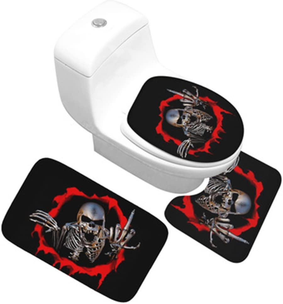 Funif Set of 3 Non-slip Doormat Floor Water Absorbent and Anti Mildew Flannel Carpet Decorative Toilet Entry Rugs For Bath Room - Middle Finger Skull 15.7