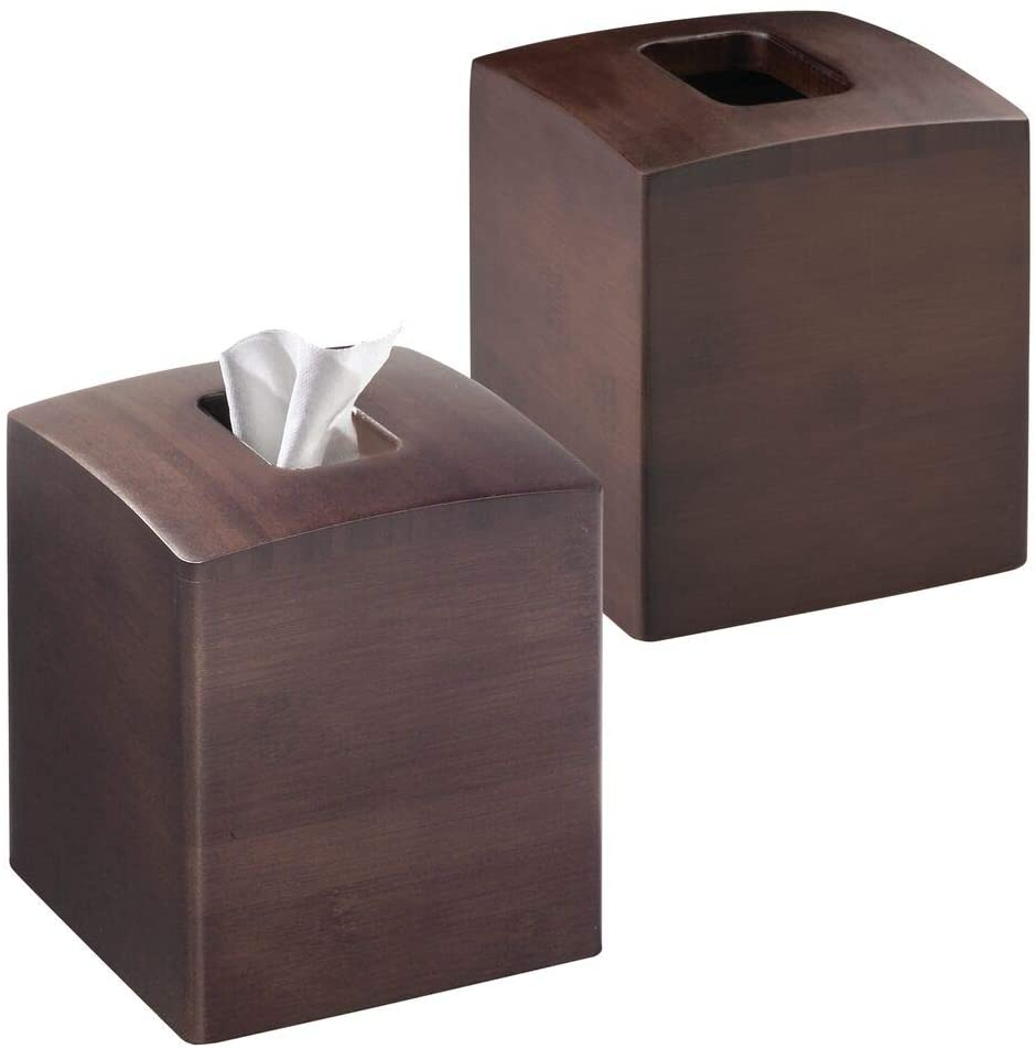 mDesign Square Bamboo Wood Facial Tissue Paper Box Cover Holder for Bathroom Vanity Counter Tops, Bedroom Dressers, Night Stands, Home Office Desks, Tables - 2 Pack - Espresso Brown