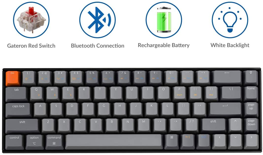 Keychron K6 Bluetooth Wireless/Wired USB Gaming Mechanical Keyboard with Gateron Red Switch/LED Backlit/Rechargeable Battery, Compact 68 Key Keyboard for Mac Windows