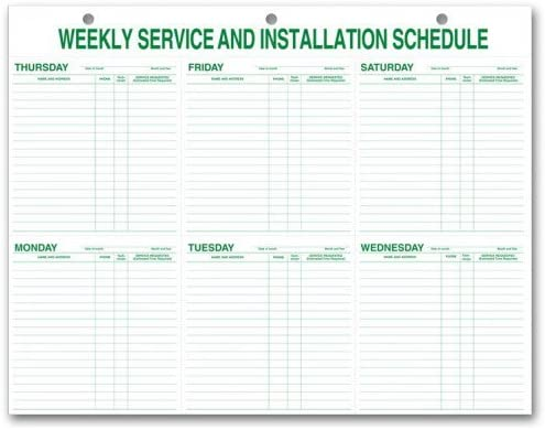 Weekly Service & Installation Schedule Pad, Hole Punch