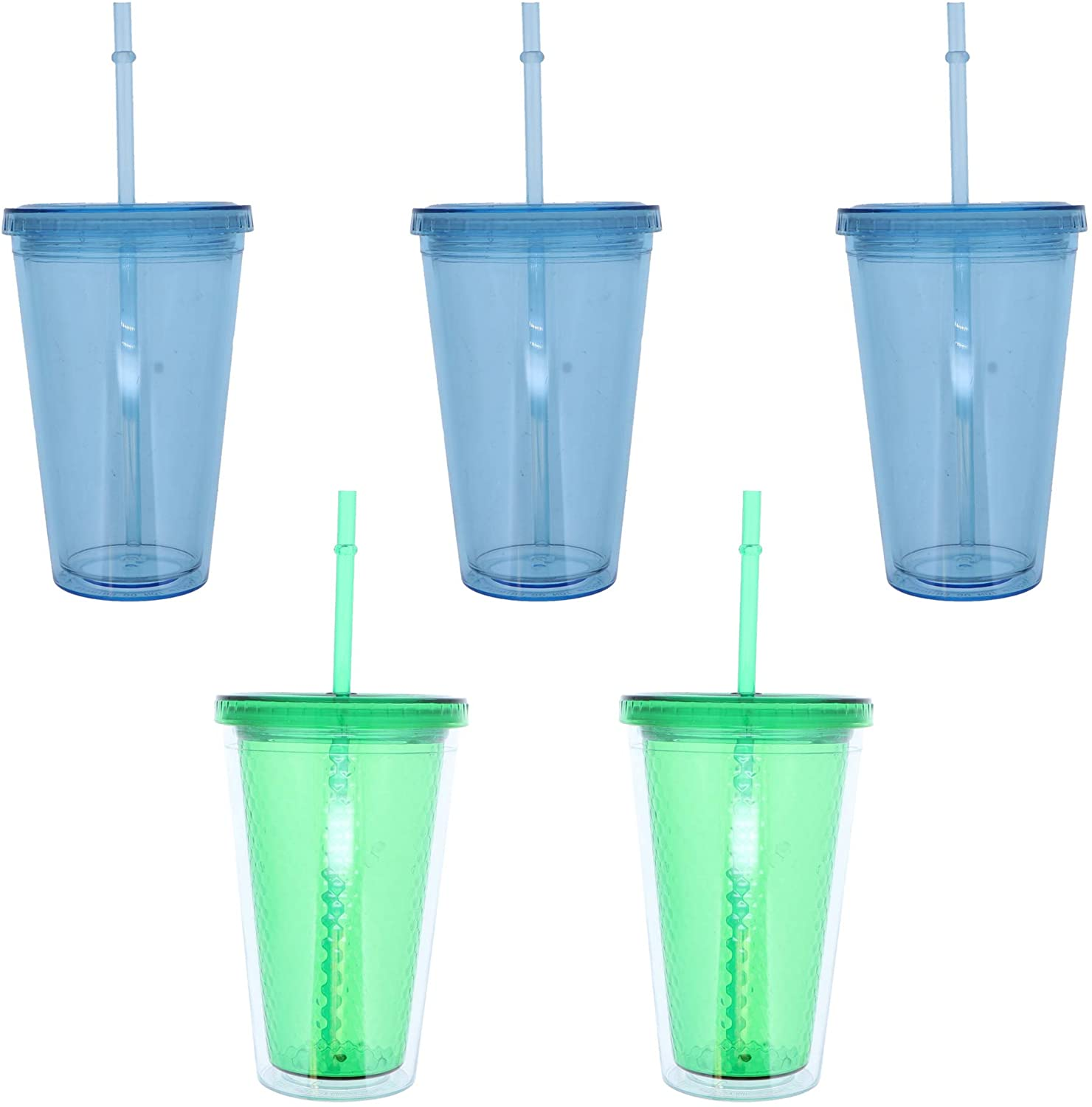 16 Oz Acrylic Tumbler with Lid and Straw - 5 Pack - 2 Green & 3 Blue