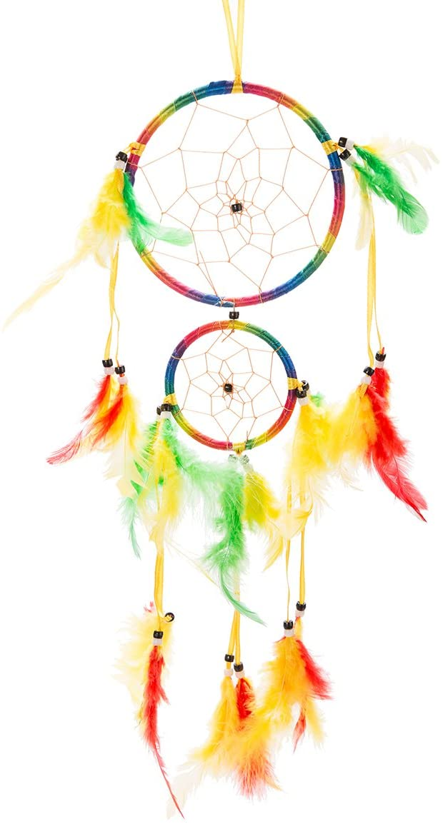 THY COLLECTIBLES 18 Traditional Rainbow Dream Catcher with Feathers Wall or Car Hanging Ornament Double Circles