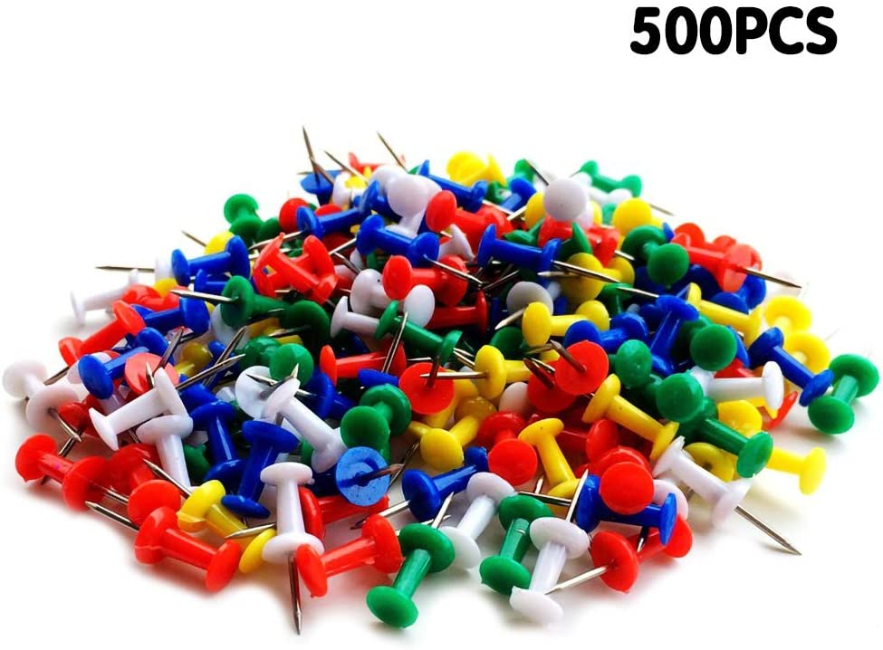 500Pcs Push Pins Colored Thumb Tacks,Colored Map Thumb Tacks Plastic Marking Pins with Sharp Point for Bulletin Board, Fabric Marking, Crafts and Office Organization