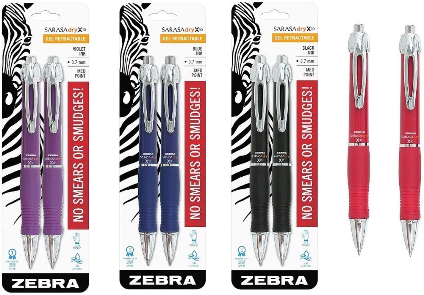 (4) Zebra X10 Retractable Gel Pen, Medium Point, 0.7mm, Red Barrel, Acid Free Red Ink, 2 Pens, 2-Pack Black Ink (42612) Violet Ink (42682) Blue Ink (42622)