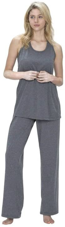 SHEEX 828 Motion Women's Racer Back Flare Tank, Ultra-Soft and Smooth, Heather Gray, Medium