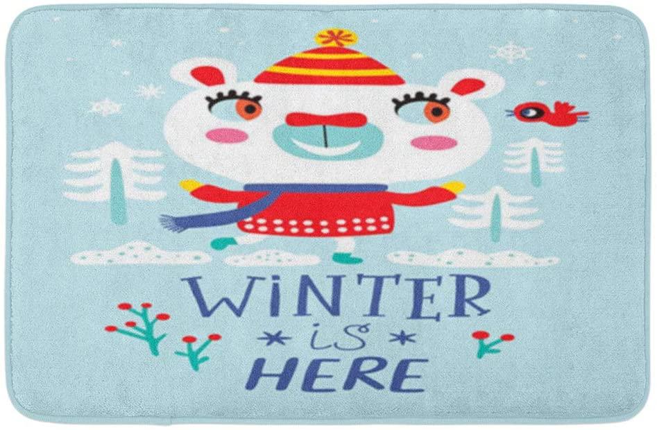 Adowyee Bath Mat Card with a Cute Polar Bear Winter is Here Childish Animal Antarctica Moose Pattern Cozy Bathroom Decor Bath Rug with Non Slip Backing 20