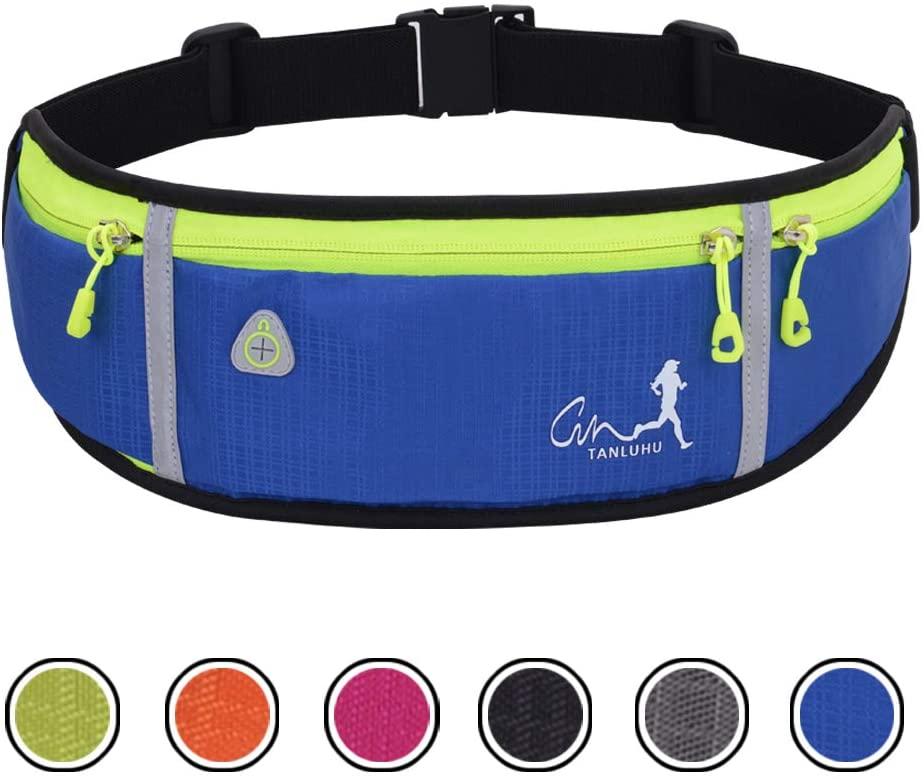 EASY BIG Running Waist Packs Running Bag Belt with Bottle Holder & Reflector for Men & Women Outdoor Walking, Hiking, Fits Maximum 6.5'' Large Smartphones