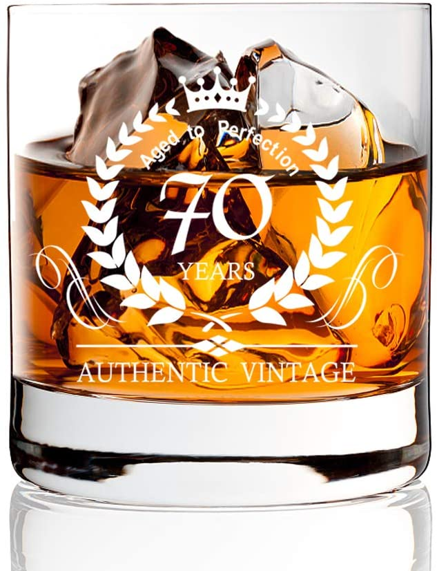AGMdesign, Funny 70th Birthday Anniversary Whiskey Glasses, Funny Birthday Gift, Scotch Gift Ideas for Men, Women, Dad, Mam, Son, Husband, Brother