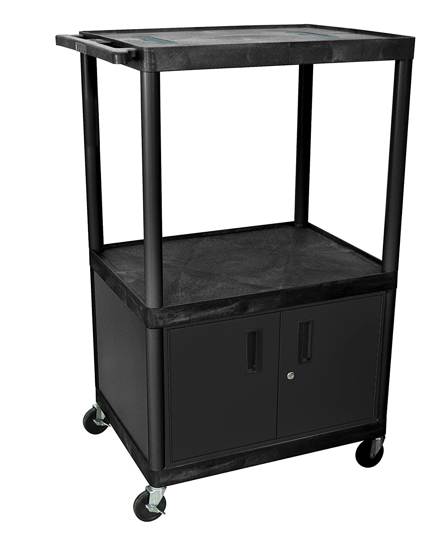LUXOR LE54C-B Endura 3-Shelf A/V Cart with Cabinet, Black