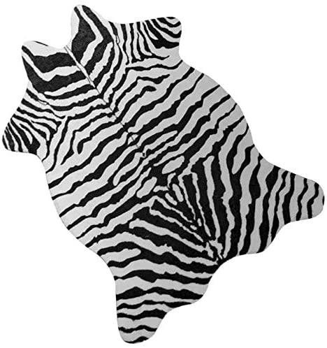 NativeSkins Faux Zebra Rug (3.6ft x 2.5ft) - Zebra Print Western Boho Decor - Synthetic, Cruelty-Free Animal Hide Carpet with No-Slip Backing
