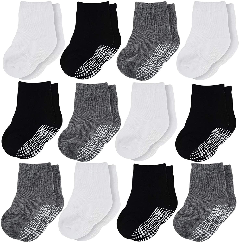 HELN Crew Grip Socks Anti Slip Non SkidAthletic Sock for Baby Toddler Infant Newborn Kids Boys Girls 6/12 Pairs