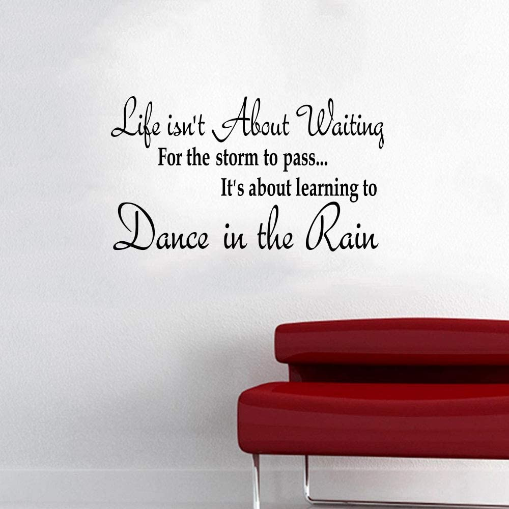 Wall Decals for Living Room Dance in The Rain Office Inspirational Wall Decals for Home Decor Front Door Decal Motivational Quotes Stickers Window Glass Letters Vinyl Tile Sticker Art Removable
