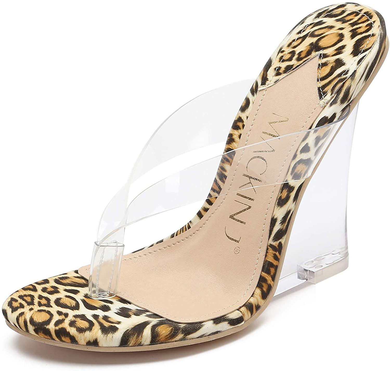 MACKIN J 405-2 Women's Clear Wedge Heel Thong Slip On Mule Dress Sandals