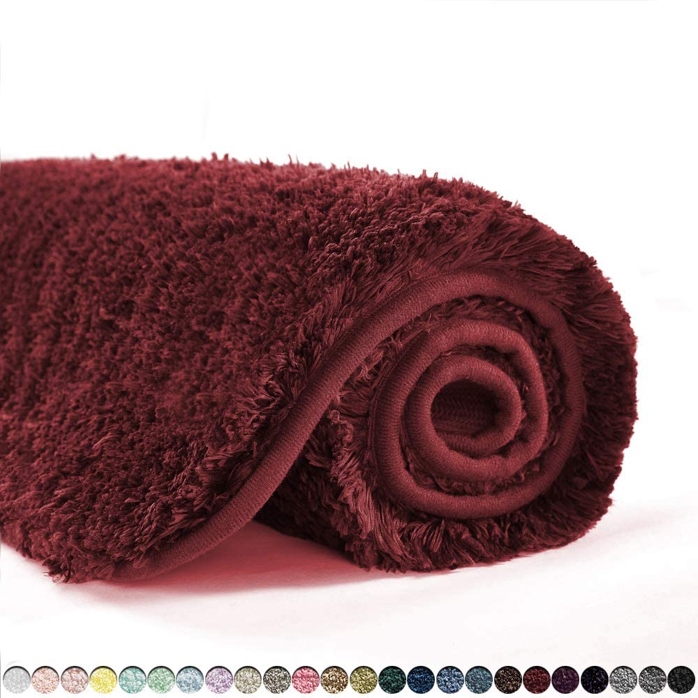 Suchtale Bathroom Rug Non Slip Bath Mat for Bathroom (16 x 24, Red) Water Absorbent Soft Microfiber Shaggy Bathroom Mat Machine Washable Bath Rug for Bathroom Thick Plush Rugs for Shower